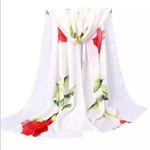 Accessories - Beige Chiffon Rose Print Shawl / Wrap